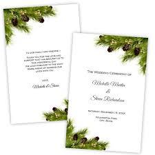 christmas wedding programs folded wedding program template christmas pine cones diy