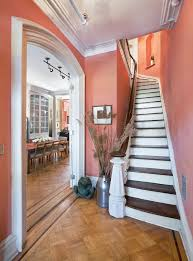 salmon or coral paint ideas staircase traditional with wood trim