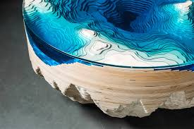 amazing abyss table layers glass and wood to mimic the depths of