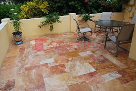 Travertine Patio Pavers by Antique Blend Tumbled French Pattern Travertine Pavers