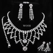 prom jewelry 2018 pendant necklace wedding jewelry set rhinestone bridesmaid