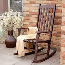 Patio Furniture Rocking Chair Coral Coast Indoor Outdoor Mission Slat Rocking Chair Brown
