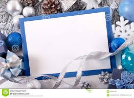 Blank Invitation Cards And Envelopes Blue Christmas Card Background With Decorations And Copy Space