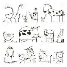 funny cartoon farm domestic animals collection for kids coloring