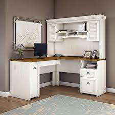 White Computer Desk With Hutch Bush Furniture Fairview L Shaped Desk In Antique White
