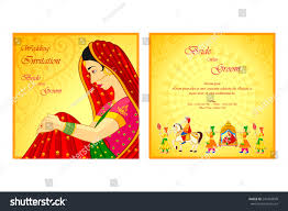 Traditional Wedding Invitation Card Vector Illustration Indian Wedding Invitation Card Stock Vector
