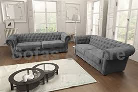 Corner Chesterfield Sofa Chesterfield Style Corner Sofa Set 3 2 Seater Armchair Grey Fabric