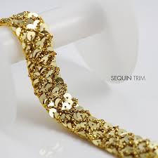 sequin ribbon gold sequin fabric 3row beaded braided applique ribbon decorated