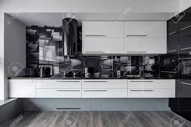 wall tiles for white kitchen cabinets modern kitchen with white cupboards and black wall tiles