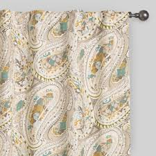 gray and aqua paisley concealed tab top curtains world market