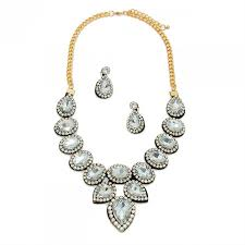 necklace set clear felt back pave bridal necklace set