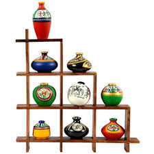 Wooden Home Decor Items Exclusivelane Terracotta Hand Painted 9 Pcs Pots With Sheesham