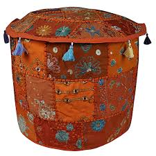 Storage Ottoman Slipcover by Handmade Patchwork Pouffe Cover Embroidered Old Patches Cotton