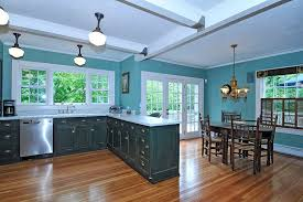 Blue Floor L Blue Kitchens With Brown Cabinets Fabric Small Rugs Above
