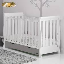 Sleigh Cot Bed White Obaby Stamford Mini Sleigh Cot Bed White Taupe Grey Buy At