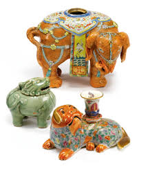 Porcelain Elephant by Two Chinese Export Porcelain Famille Rose Candle Holders In The