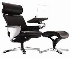 nuvem black leather reclining executive chair with tablet arm and