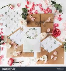 Flat Invitation Cards Workspace Wedding Invitation Cards Craft Envelopes Stock Photo