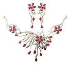 diamond ruby necklace sets images Diamond ruby necklace set view specifications details of jpg