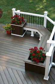 corner deck bench with built in planters ideas for the house