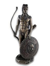 roman greek god apollo with shield and bow bronzed statue zeckos