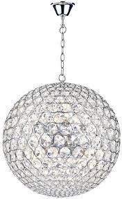 Sphere Pendant Light Dar Fiesta Small Modern 5 Light Crystal Globe Pendant Chrome Fie0550