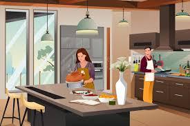 preparing for thanksgiving dinner in the kitchen stock