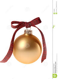 gold christmas ornament glass ball with plaid ribbon royalty free