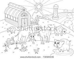 coloring book listen farm animals rural landscape coloring book stock vector 718565539