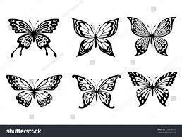 beautiful butterflies monochrome style tattoo design stock