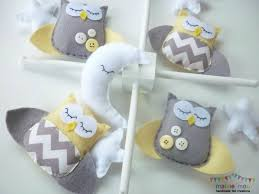 dreamtime baby owls pale lemon and grey felt baby mobile with