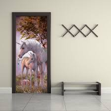 unicorn animal wall stickers 3d door forest landscape wallpaper unicorn animal wall stickers 3d door forest landscape wallpaper mix color 77 x 200cm
