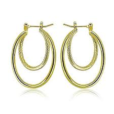 pictures of gold earrings paksho 9ct gold with inlaid bronze2 twist hoop earrings
