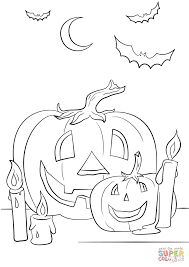 halloween scene with pumpkins candles and bats coloring page