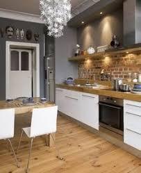 briques cuisine idée relooking cuisine cuisine grise mur de briques cuisine gris