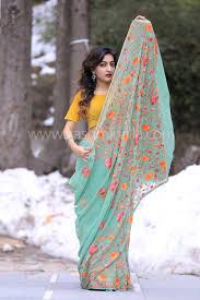 buy kashmiri pista green color kashmiri aari work embroidered