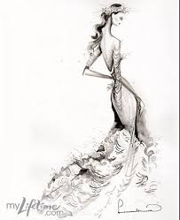drawn wedding dress sketching pencil and in color drawn wedding