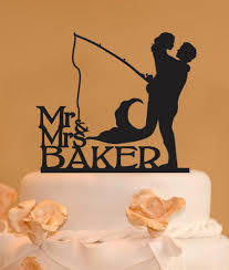 fisherman cake topper holding mermaid mr and mrs wedding cake topper last name