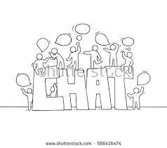 sketch working little people speech bubbles stock vector 566416474