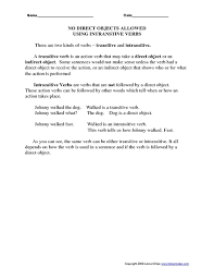 transitive verb worksheet worksheets