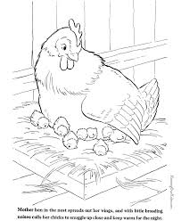 farm animal coloring sheet chickens print color 026