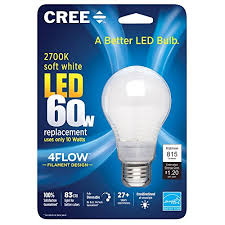 Led Light Bulbs 2700k by Cree 60w Equivalent 2700k A19 Led Light Bulb With 4flow Filament