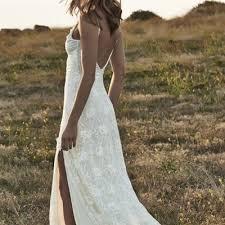 boho backless wedding dresses front split romantic off shoulder