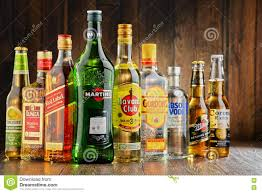 martini liquor bottles of assorted hard liquor brands editorial photography
