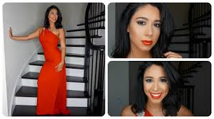 neutral prom makeup look with red dress youtube