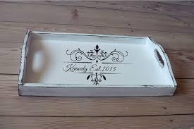 personalized serving platters breakfast tray personalized serving trays white wooden