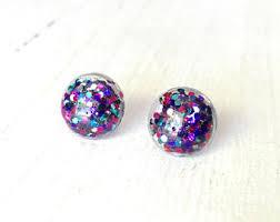 glitter stud earrings gold stud earring 8mm gold glitter stud gold