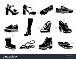 shoes set vector flat icons black stock vector 610244759