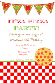 inspirational pizza birthday party invitations for kids saflly