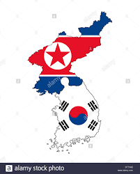 Standing Flag Banners North Korean And South Korean Map Flag Banner Country Border Stock